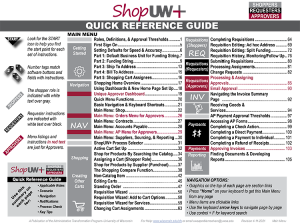 Shop UW Plus Quick Reference Guide